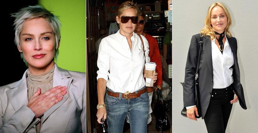 8a7b311d409 56-летняя Шарон Стоун знает как носить строгую белую рубашку и выглядеть  при этом сексуально